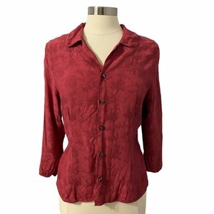 CP Shades Floral Rayon Top Red Size S